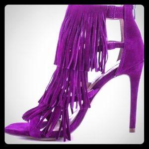 fringe steve madden purple heel